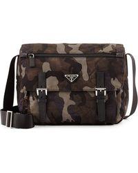 Prada Tessuto Camouflage Messenger Bag - Lyst