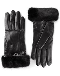 Ferragamo Fur Trim Gloves - Lyst
