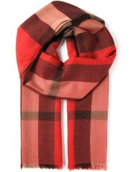Burberry Red Checked Scarf - Lyst