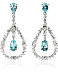 Ara Vartanian | White Gold Earrings With Paraiba Tourmalines And White Diamonds | Lyst