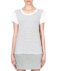 James Perse Striped Jersey Tshirt White - Lyst