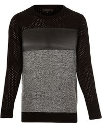 River Island Black Panel Long Sleeve Sweater - Lyst