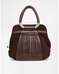 Ri2k - Leather Suade Mix Bag With Woven Handle Detail - Lyst
