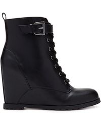Forever 21 Lace-Up Wedge Booties - Lyst