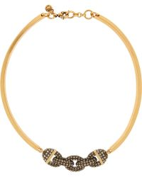 J.Crew | Chain Bar Gold-Tone Crystal Necklace | Lyst