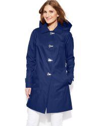 London Fog Hooded Clip-Front Jacket - Lyst