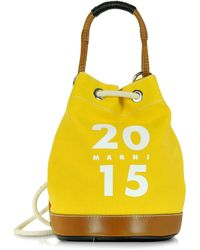 Marni Lemmon Canvas And Leather Rucksack - Lyst