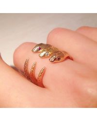 Pamela Love Exclusive Serpent Ring with Sapphires - Lyst
