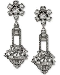 Betsey Johnson Silver-Tone Crystal Flower And Basket Drop Earrings - Lyst