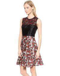 Rodarte Butterfly Lace  Printed Dress  Redgrey - Lyst