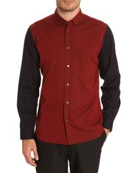 Marc By Marc Jacobs Oxford Burgundy And Navy Shirt - Lyst