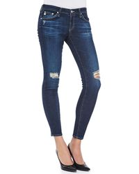 Ag Adriano Goldschmied Low-rise Distressed Ankle Leggings - Lyst