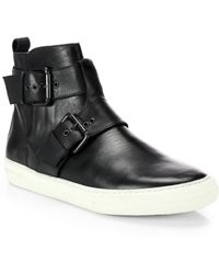 Pierre Hardy Leather High-Top Buckle Sneakers - Lyst