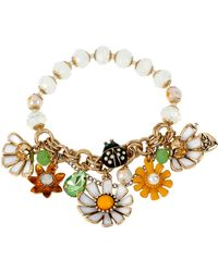 Betsey Johnson Flower Child Faux Pearl Daisy Stretch Bracelet - Lyst