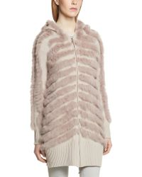 Patrizia Pepe Macro Cardigan Coat in Knitted Wool with Real Rabbit Fur and Hood - Lyst