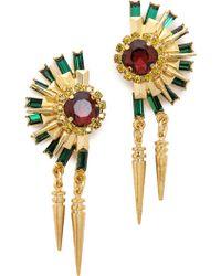 Elizabeth Cole Crystal Statement Earrings  Turquoisehowlitegold - Lyst