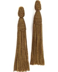 Oscar de la Renta Long Chain Tassel Earrings - Gold - Lyst