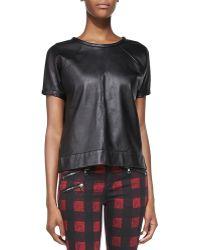 Rag & Bone Lambskin Leather Sweatshirt - Lyst