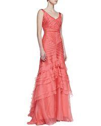Theia Sleeveless Layered Mermaid Gown - Lyst