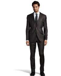 Hugo Boss Dark Brown Pinstripe Wool Two Button Super 130 Suit with Flat Front Pants - Lyst