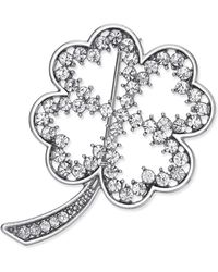 Charter Club - Silver-tone Pave Open Clover Pin, Only At Macy's - Lyst