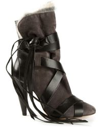 Isabel Marant Gray Strappy Boots - Lyst