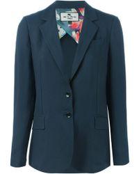 Etro Blue Tailored Blazer - Lyst