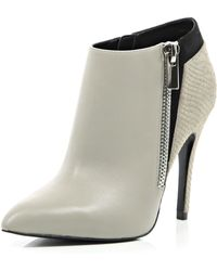 River Island Grey Contrast Leather Pointed Toe Ankle Boots - Lyst