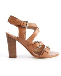Belle By Sigerson Morrison Brown Strappy Buckle Detail Heel Sandals - Lyst
