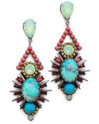 Elizabeth Cole Courtland Earrings, Coral Mint - Lyst