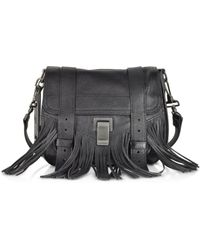 Proenza Schouler Ps1 Black Leather Fringe Pouch - Lyst
