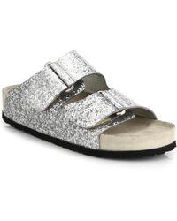 Giamba Glittered Leather Slide Sandals - Lyst