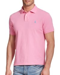 Polo Ralph Lauren Slim-Fit Mesh Polo pink - Lyst