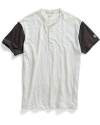 Todd Snyder X Champion Short Sleeve Blocked Henley In Antique White white - Lyst
