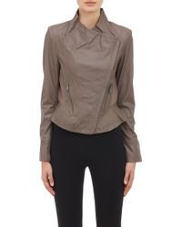 Barneys New York Fitted Leather Jacket - Lyst