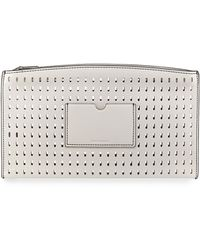 Reed Krakoff Atlantique Perforated Leather Zip Pouch white - Lyst