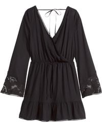 H&M V-Neck Tunic black - Lyst