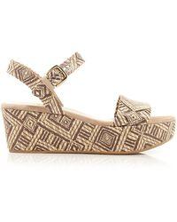 Stuart Weitzman Open Toe Platform Espadrille Wedge Sandals - St. Barths - Lyst