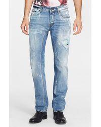 Just Cavalli Destroyed Paint Splatter Straight Leg Jeans - Lyst
