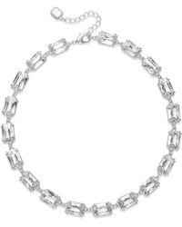 Lauren by Ralph Lauren Silver-tone Rectangle Crystal Collar Necklace - Lyst