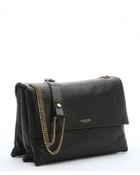 Lanvin Black Quilted Leather Chainlink Medium Shoulder Bag - Lyst