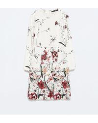 Zara Printed Front Pleat Dress With Pocket - Lyst