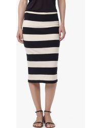 James Perse Cotton Linen Striped Pencil Skirt - Lyst