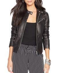 Ralph Lauren Lauren Petites Leather Moto Jacket - Lyst