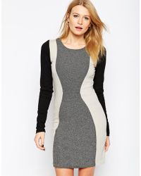 Y.a.s Long Sleeve Color Block Body-Conscious Dress - Lyst