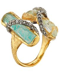 Alexis Bittar Multi Stone Encrusted Vine W/ Custom Aqua Crackle Crystal & Amazonite Doublet Cocktail Ring - Lyst
