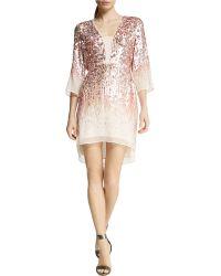 Halston Heritage Sequined Chiffon Dress - Lyst
