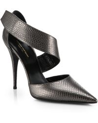 Narciso Rodriguez Camila Embossed Leather Dorsay Heels - Lyst