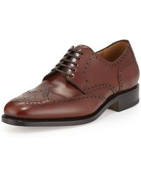 Ferragamo Leather Wing-Tip Brogues - Lyst