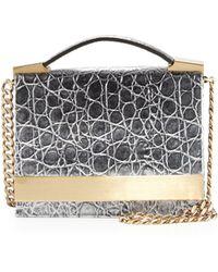 B Brian Atwood - Ava Metallic Croc-Print Shoulder Bag - Lyst